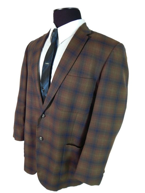 Vintage 1960s Plaid Sport Coat Summer Weight Skinny Lapel Made to