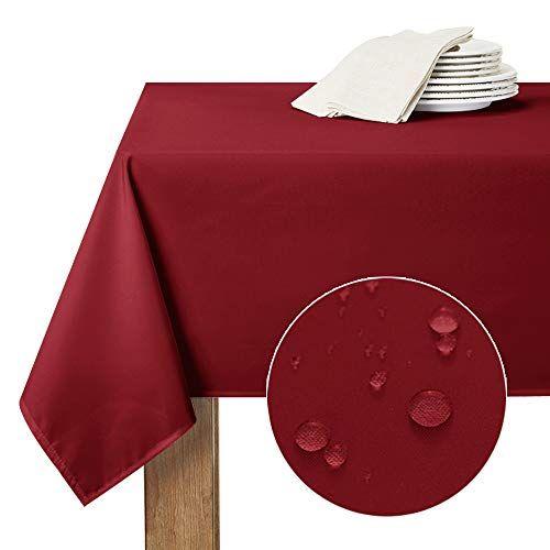 Ryb Home Nappes Etanche De Table 150 X 260 Cm Rouge Bordeaux Rectangulaire Impermeable Anti Tache Pour En 2020 Avec Images Nappe De Table Nappe Rouge Tables De Buffet
