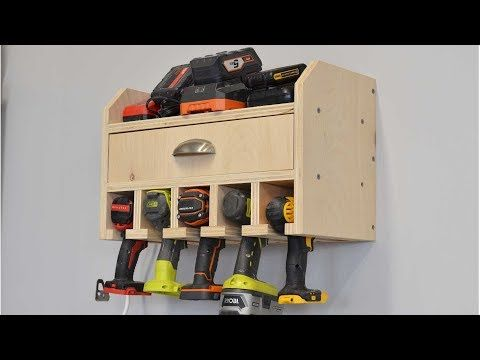 Organize Your Tools Free Plans For A Diy Cordless Drill Storage And Battery Charging Station Storage Cordless Drill Diy Garage Storage