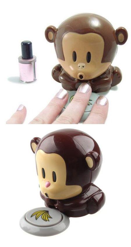 Monkey dries nails. Love it.