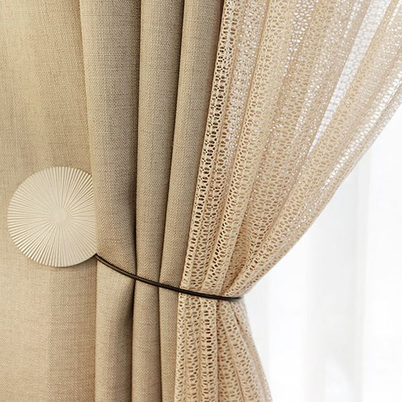 Sheer Curtains beige sheer curtains : Ribbed Beige Sheer Voile Curtain | Drapery panels, Curtains and ...