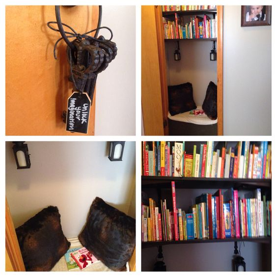 Closet library with flame less candle lanterns, shelves for books, nook to sit, unlock you imagination keys for door