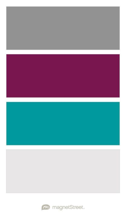 Classic Gray, Sangria, Teal, and Winter White Wedding Color Palette - custom color palette created at MagnetStreet.com