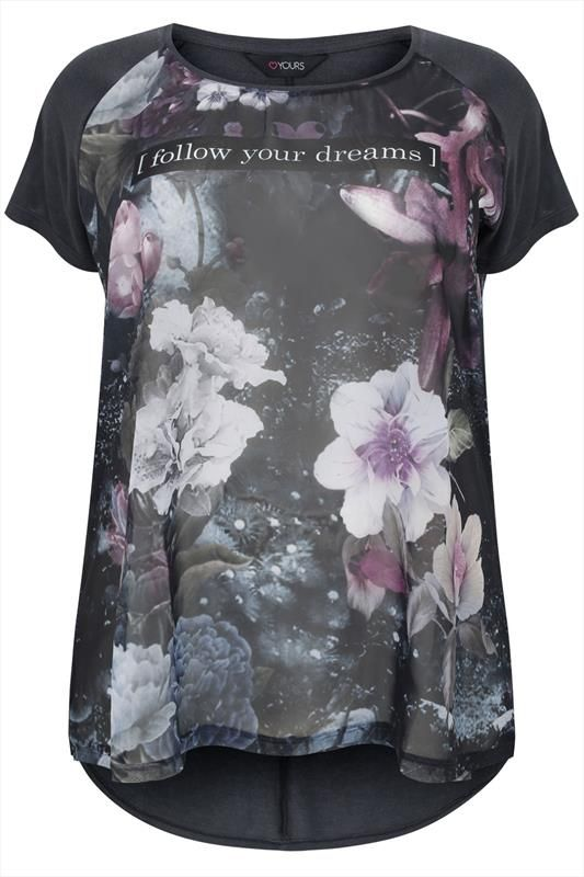 """Grey & Floral Woven Front Top With """"Follow Your Dreams"""" Print Plus Size 16,18,20,22,24,26,28,30,32"""