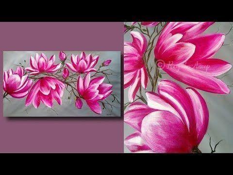 Simple Abstract Flower Maltechniken Fur Anfanger Large Canvas