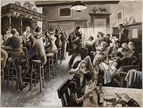 Thomas Hart Benton, Thursday Night at the Cock & Bull. It's the Maid's Night Out (ink, gouache) on ArtStack #thomas-hart-benton #art