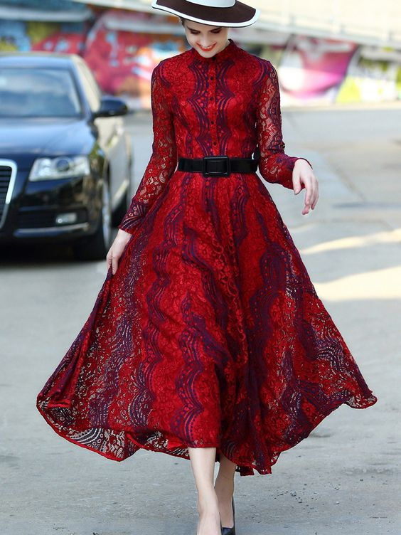 Shop Red Round Neck Long Sleeve Drawstring Lace Dress online. SheIn offers Red Round Neck Long Sleeve Drawstring Lace Dress & more to fit your fashionable needs.