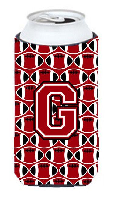 Letter G Football Red, Black and White Tall Boy Beverage Insulator Hugger CJ1073-GTBC