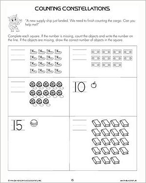math worksheet : counting constellations  free math worksheet for kindergarten  : Math Counting Worksheets Kindergarten