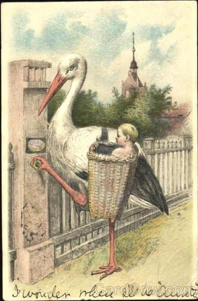 Stork with BAby Babies: