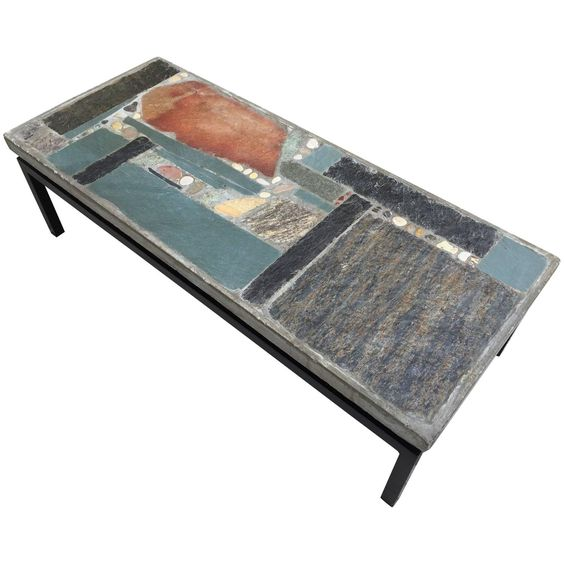 Brutalist Coffee Table by Paul Kingma with Mosaic Stones, 1966 | From a unique collection of antique and modern coffee and cocktail tables at https://www.1stdibs.com/furniture/tables/coffee-tables-cocktail-tables/