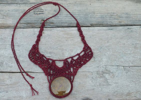 This one of a kind necklace was handmade crochet by me with Bordeaux- Maroon thread and 'Petrified Wood' gemstone. <3 by AmorArt