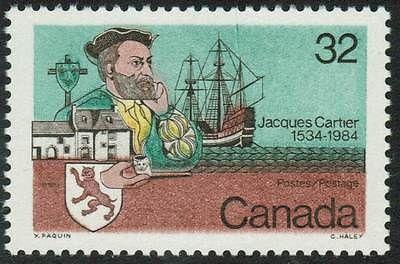 Canada Sc#1011iv Jacques Cartier and Ship, Green Anchor Line, MNH-VF