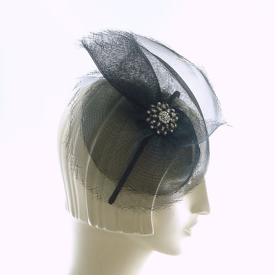 Black Cocktail Hat for Women on a Headband