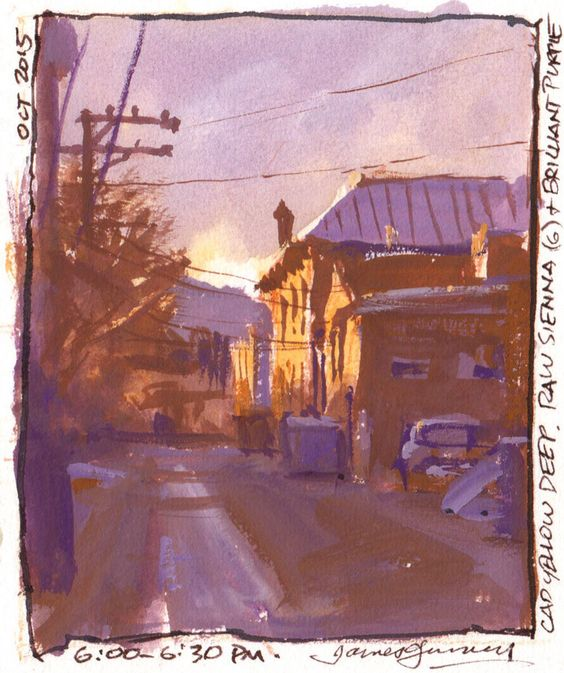 Alley in Salida, Colorado. Cad yellow deep, raw sienna, and purple.: