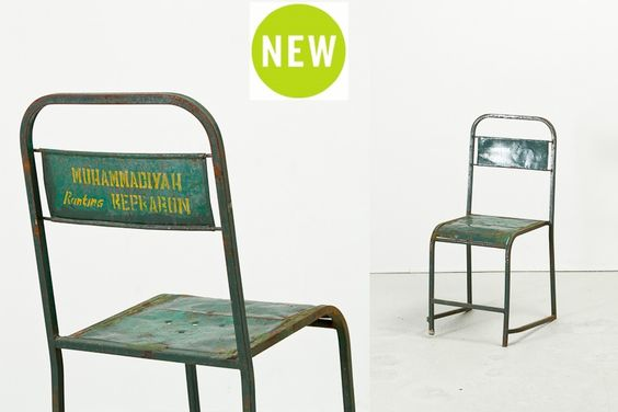 "Skola Chair - Green | Antique metal seating | W15"" x D16"" x H32.5"" 