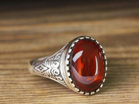 925 K Sterling Silver Man Ring Red Tourmaline 9,75 US Size $17.48