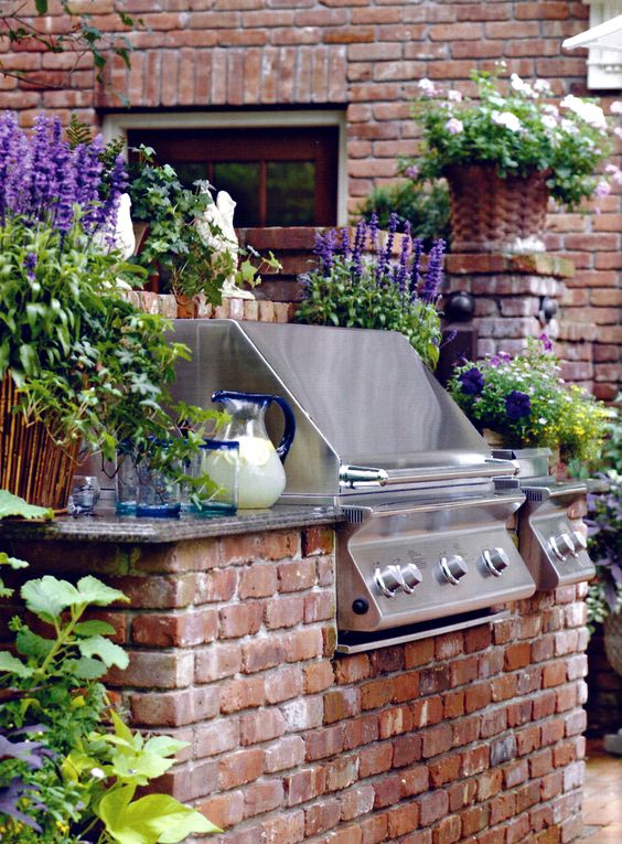 Built-in Gas Barbeque was constructed to match the house and blend-in with the outdoor space. Provides plenty of counter space and multiple elements.