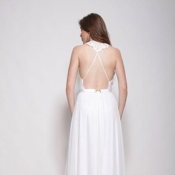 Bohemio vestido de boda, cuello bordado, vestido de boda trasero abierto