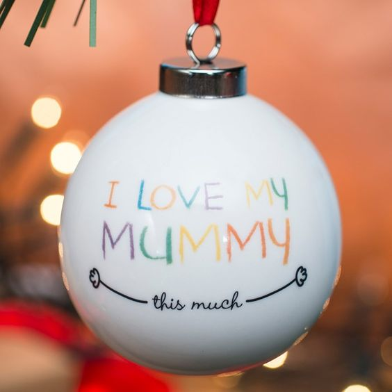 With your child's message prined on the back | Personalised Bauble - I Love My Mummy | GettingPersonal.co.uk