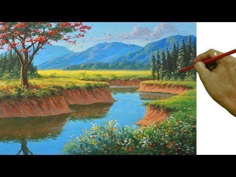 Anleitung Zum Acrylmalen Zum Malen Von Realistischer Landschaft Mit Feuer Acrylmalen Anleitung Feuer Landschaft Ma Landschaft Zeichenkunst Acryl Malen