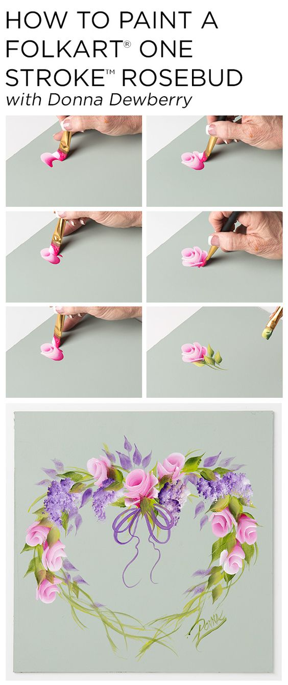 Learn How To Paint A Beautiful Rosebud Wreath Using A Small Palette Of Folkart Multi Surface