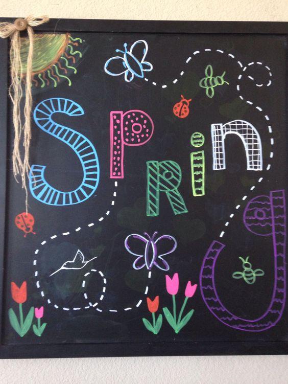 Spring Chalkboard Art Chalkboard Fun Pinterest