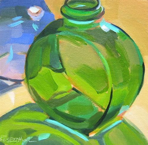 """Green and Blue Glass Bottles"" - Original Fine Art for Sale - © Robin Rosenthal"