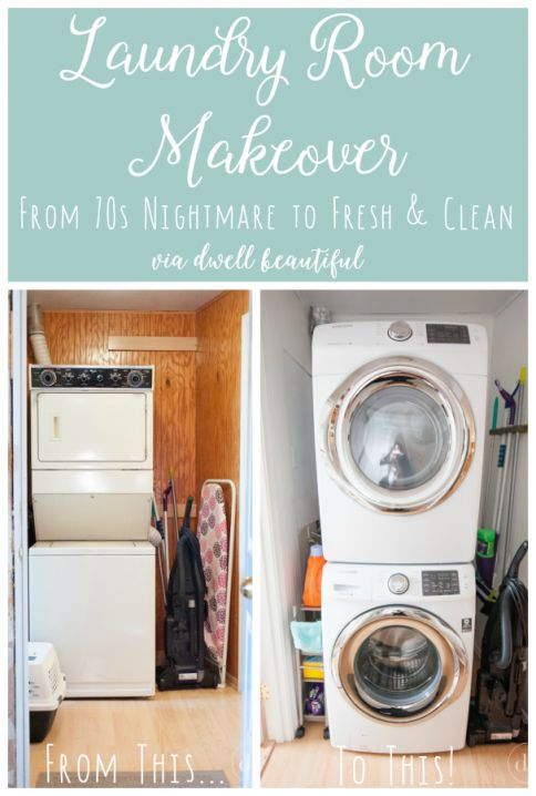Dwell beautiful does a laundry room makeover to her tiny space and transforms it from a 70s orangey nightmare into a light and bright clean dream! Check out how she did it.