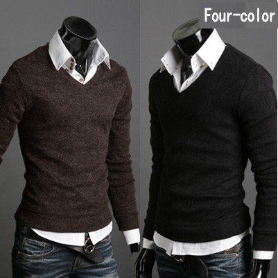 For the men in my house...Men's knit shirt v-neck Sweater slim long sleeve t-shirt on AliExpress.com. $30.00 looks nice with collared shirt.