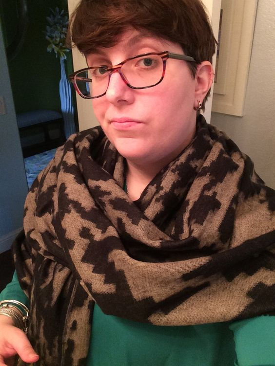 stitch fix scarf - this has been the piece that's gotten the most use from my fix. love houndstooth, love the colors, love the warmth and the drape. a perfect scarf-turned-shawl that's great for my freezing office.