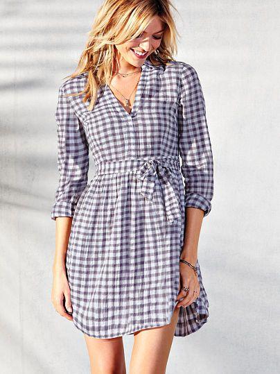 Victoria Secret's shirt dress in gingham.