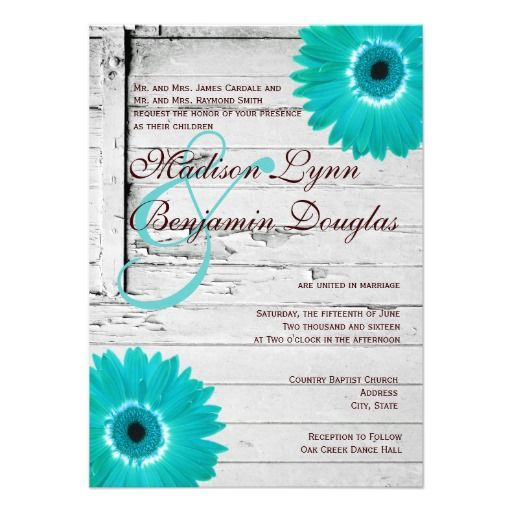 Rustic Country Barn Wood Wedding Invitations With A Distressed White Background Turquoise