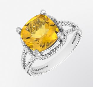 Citrine and Diamond Cable Ring  Bright, yet bold, this Citrine and Diamond Cable Ring in 14k White Gold plated Sterling Silver is the ideal summer accessory!   Ring Information  Stock Number:RCT2176  Metal:Sterling Silver  Gram Weight:3.89  Rhodium Plated:Yes  Citrine Information         Carat Total Weight:3.45 cts  Dimensions:10 mm  Stone Shape:Cushion Cut  Setting Type:Prong Setting  Diamond Information         Carat Total Weight: 0.02 cts  Setting Type:Prong Setting  $215