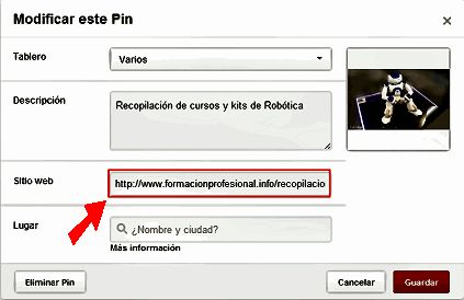 Enlaces en Pinterest