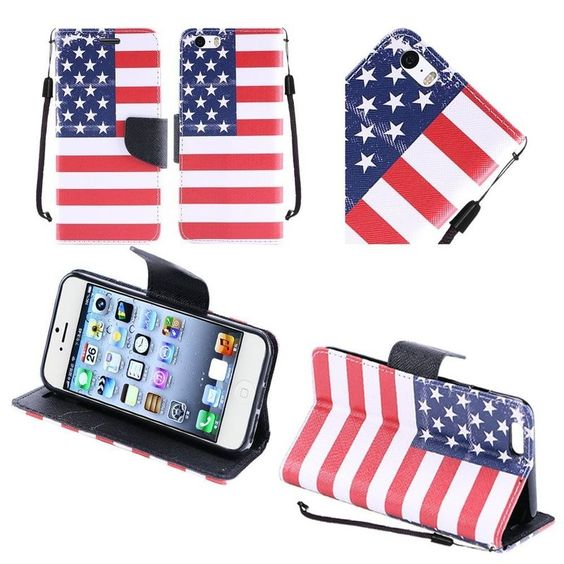 Insten Colorful US National Flag Hard PC/ Dual Layer Hybrid Case with Stand For Apple iPhone 6 Plus/ 6s Plus