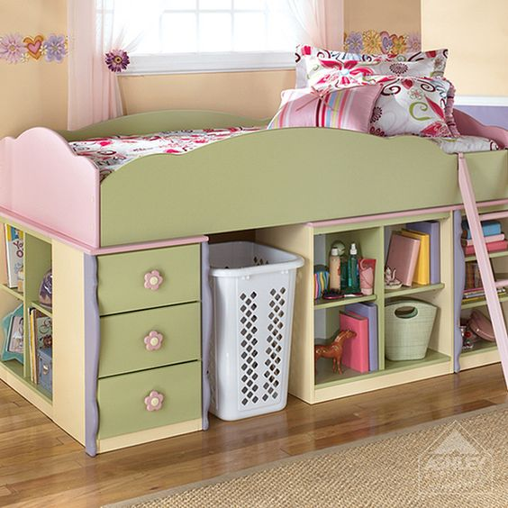 Dollhouse Twin Loft Bed Pink Purple Yellow Green
