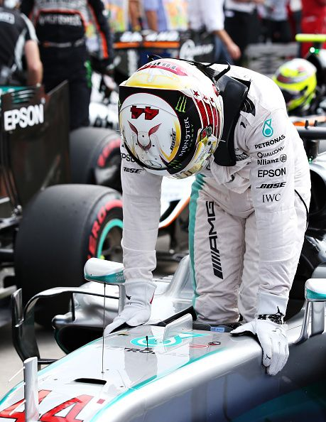 Lewis Hamilton of Great Britain and Mercedes GP celebrates getting pole position…