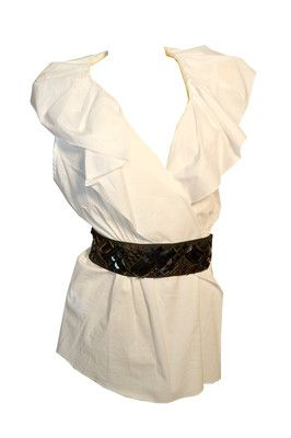BCBG Max Azria Womens Tops White Cotton Shirt with Black Belt Large Retail $188 Ours 4 Less $61.99