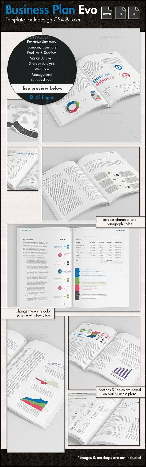 Business Plan Evolved  US Letter Template — InDesign INDD #business plan #management • Available here → https://graphicriver.net/item/business-plan-evolved-us-letter-template/12876951?ref=pxcr