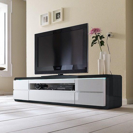 Frame Tv Stand In Black And White High Gloss With Led Lighting Desain Sofa Ruang Tamu Tempat Tidur Anak