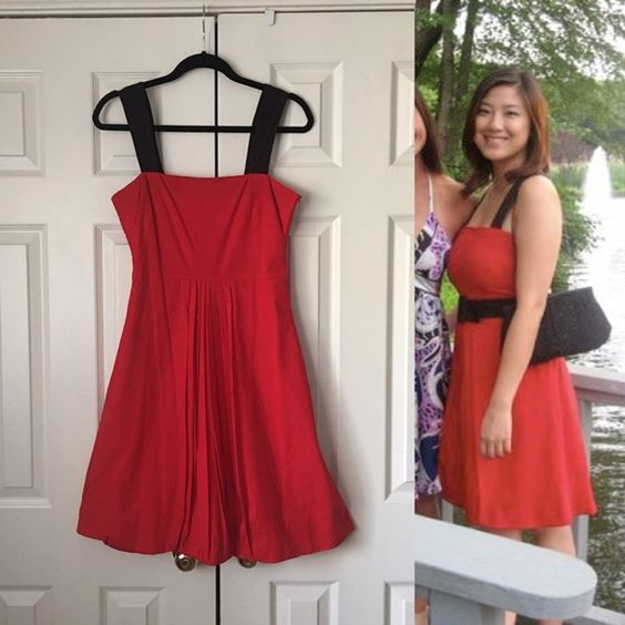 Mango red bubble dress with black straps  Cremalleras Pufs y Manos