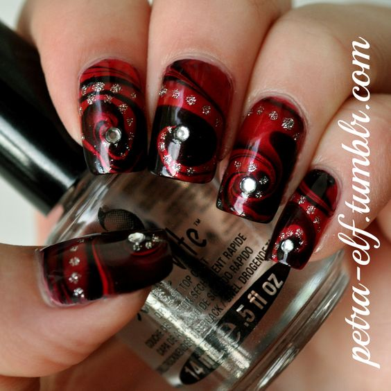 Red and Black water marble