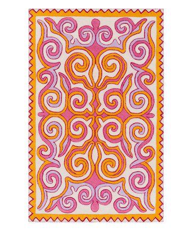 Look at this #zulilyfind! Pink Tulemola Wool Rug #zulilyfinds