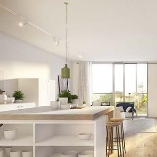 The gorgeous green 'Silo' pendant! @greatdanefurniture #regram @heckerguthrie #interiordesign #pendantlight #scandinavian #kitchen #kitchendesign #colour #love #interiors #interiorsme #ime #style #contemporary #luxury #photo #design #designer #whiteonwhite #white&timber #openplan #living