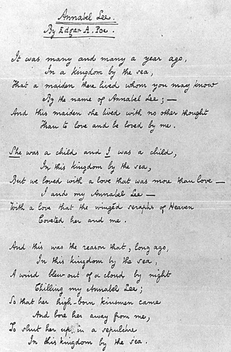 """ ""Annabel Lee"" by Edgar Allan Poe [Manuscript, 2 p., ca. May 1849]. Clear..."" - ABANDONED"
