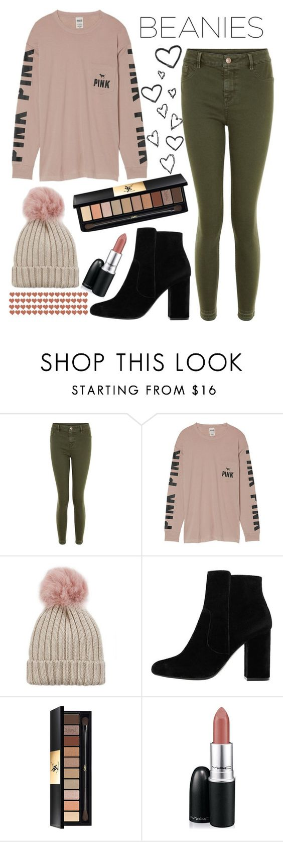 """""""Pom Pom"""" by lindseylyonss ❤ liked on Polyvore featuring New Look, Victoria's Secret, Jocelyn, MANGO, Yves Saint Laurent and MAC Cosmetics"""