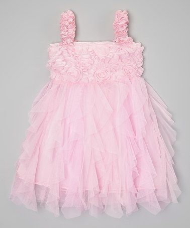 Another great find on #zulily! Pink Rosette Ruffle Dress - Toddler & Girls #zulilyfinds