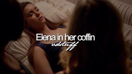 Elena in her coffin.: