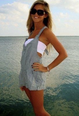 cute little overall romper with a bandeau. good idea!